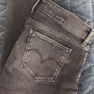 Levi's skinny jeans, distressed, ripped knees